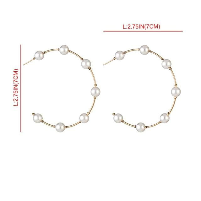 New Boho White Imitation Pearl Round Circle Hoop Earrings - klozetstyle.com