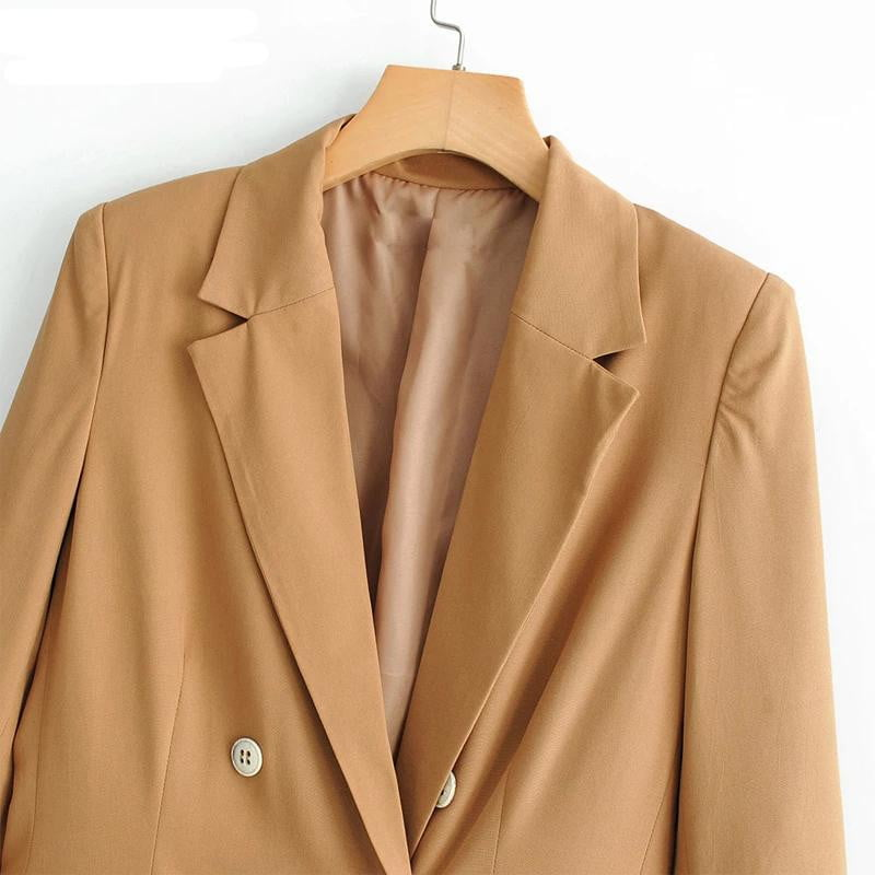 Double-breasted long sleeve spring blazer jacket - klozetstyle.com