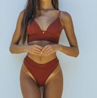 Two-Piece Solid Colors Bikini Set - klozetstyle.com