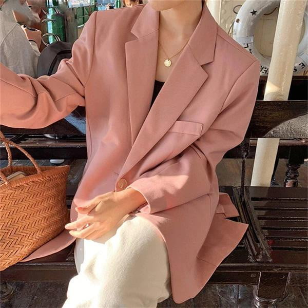 Spring Autumn Single Breasted Solid Pocket Casual Pink Blazer - klozetstyle.com
