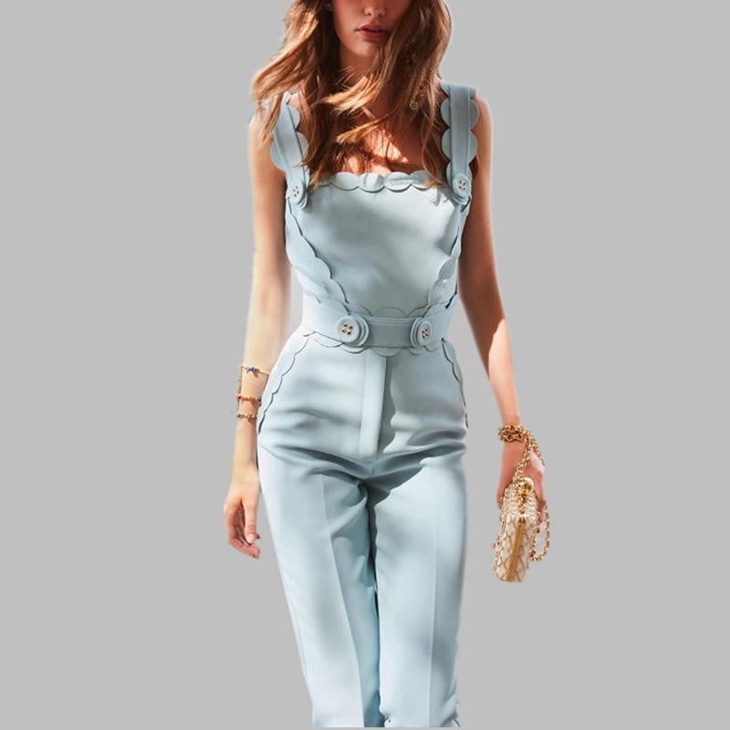 Runway Summer Solid Color 3D Button Decorate Overalls Slim Floral Jumpsuit - klozetstyle.com