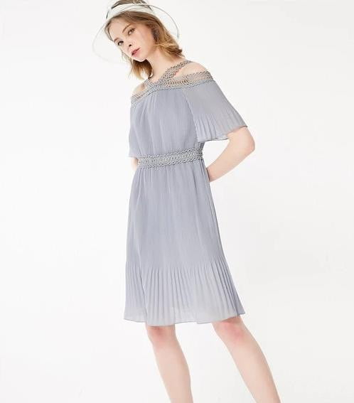 Spring Summer New A-line Pleated Chiffon Dress - klozetstyle.com