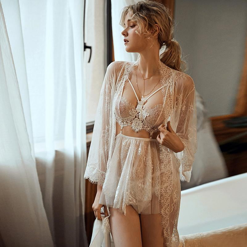 Mousse backless sleep wear night gowns with thong sets V-neck lace stripe design - klozetstyle.com