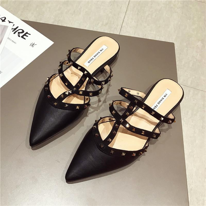 Pointed Toes Square Low Heels Rivet Shoes - klozetstyle.com