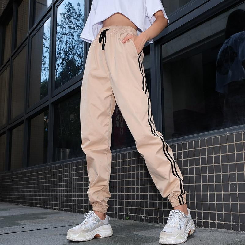 Pink Patchwork Striped Sweatpants And Joggers - klozetstyle.com