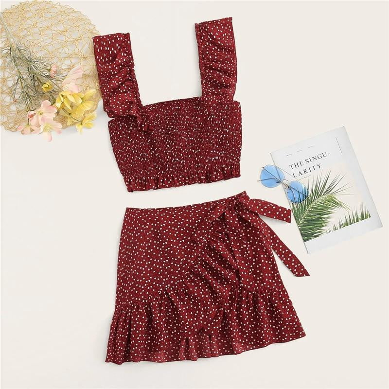 Burgundy Ruffle Trim Cami Top With Wrap Skirt Set - klozetstyle.com