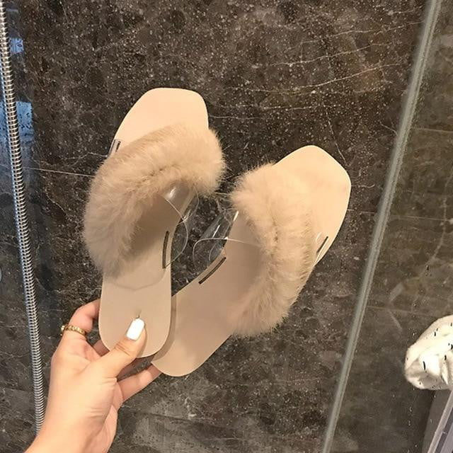 Faux Fur Slipper Transparent PVC Flat Soft Sole Sandals - klozetstyle.com