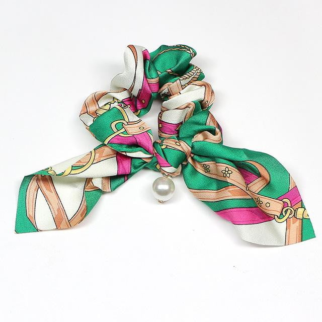 Floral Bowknot Silk Scrunchie Hair Ties with Pearls Ponytail Holder Rubber Bands Hair Accessories - klozetstyle.com