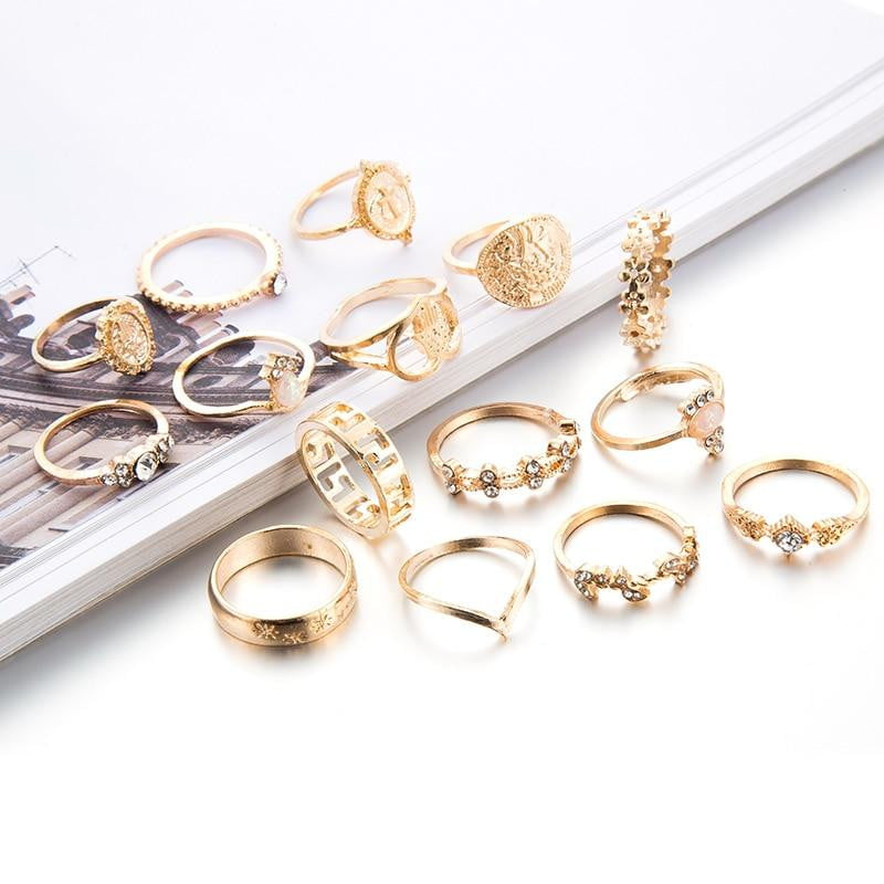 15 Pcs/set Bohemia Heart Fatima Hands Virgin Mary Cross Leaf Hollow Geometric Crystal Ring Set Jewelry - klozetstyle.com