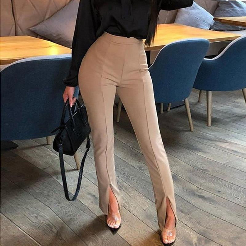 High Waist Stretch Palazzo Casual Pants - klozetstyle.com