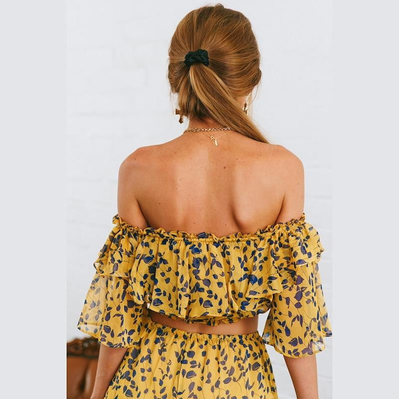 Leaves Pattern Off Shoulder Crop Top With Flare Long Pants Set - klozetstyle.com
