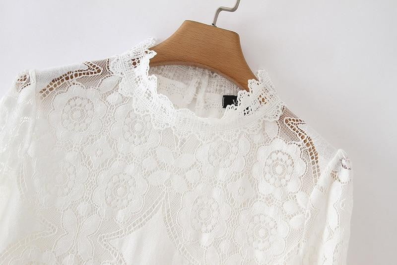Loose petal sleeve hollow out see-through lace chic tops - klozetstyle.com