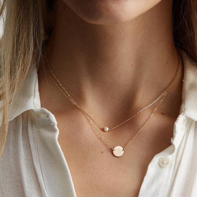 Double Layered Dainty Chic Simulated-pearl Pendant Necklace - klozetstyle.com