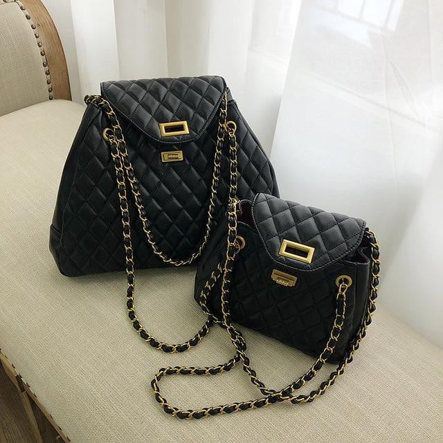High Quality PU Leather Classic Lattice Chain Large Shoulder Bag - klozetstyle.com