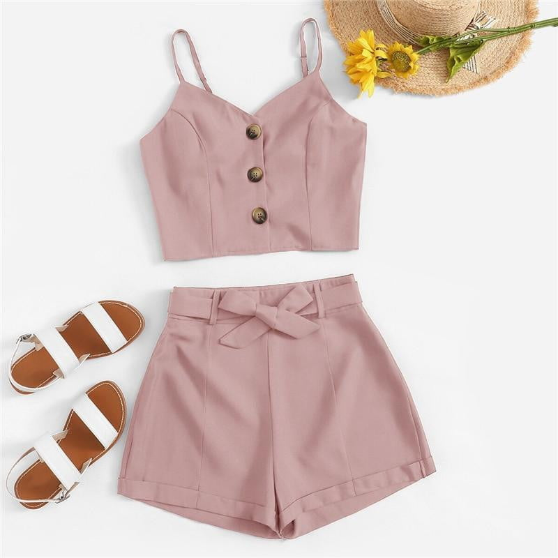 Button Front Cami Top With Belted Shorts Two-Pieces Set - klozetstyle.com