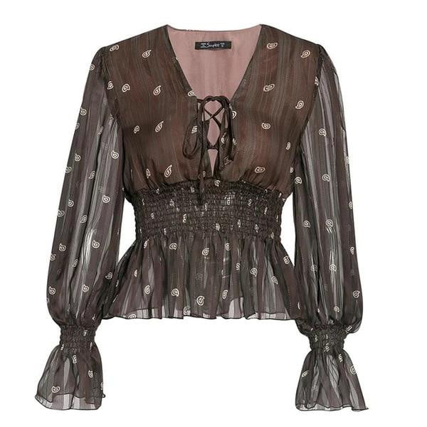 Vintage print Ethnic lace up lantern sleeve autumn tops and blouses - klozetstyle.com