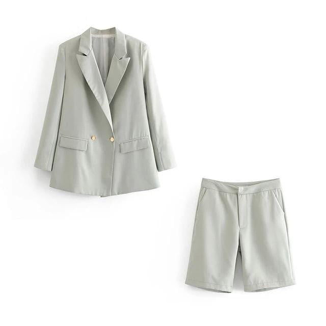 Double-breasted blazer suit + shorts two pieces sets - klozetstyle.com