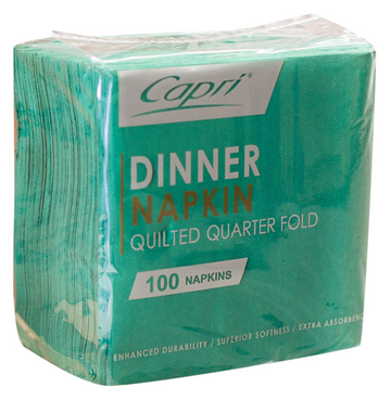 Dark Green Quilted Dinner QTR Fold