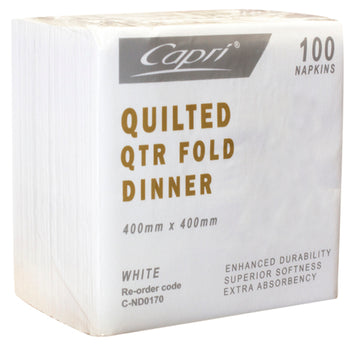 White Quilted Dinner QTR Fold