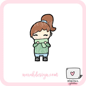 Fall Narak Girl Digital Clipart