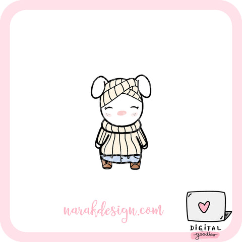 Narak Bunny Autumn/Fall Outfit Digital Clipart