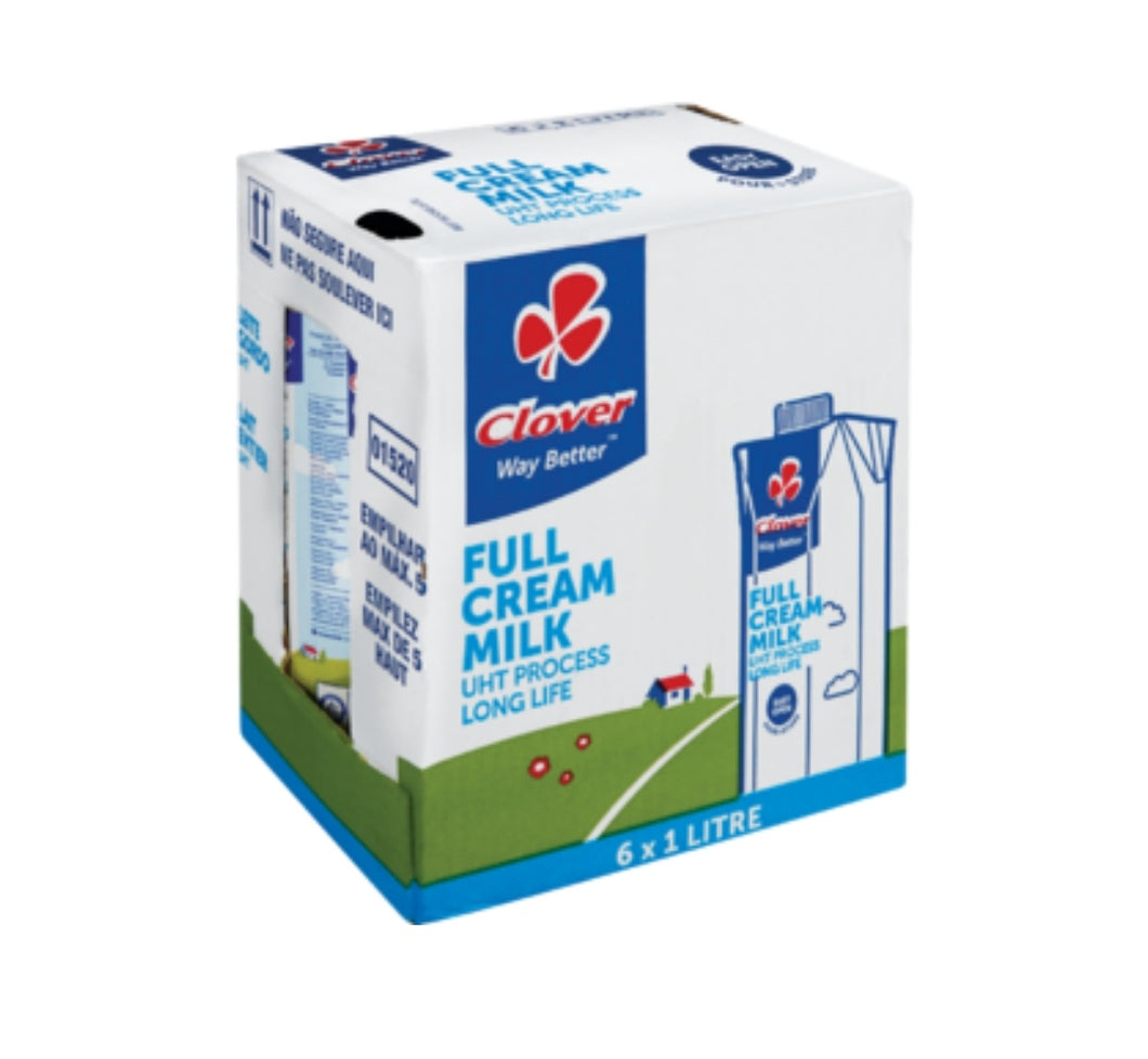 Long Life Full Cream Milk UHT - Clover - 6 x 1L