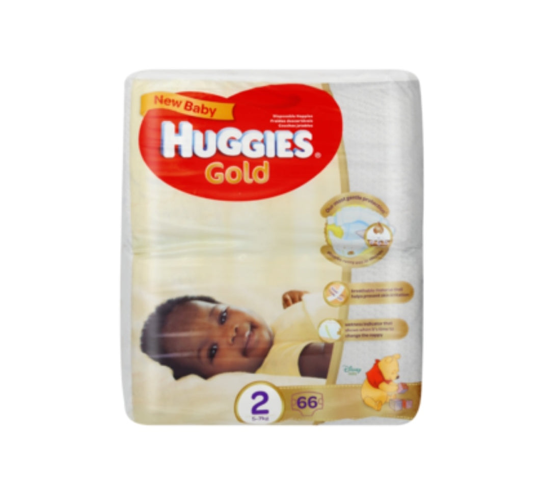 Huggies Gold New Baby Size 2 Disposable Nappies 66 Pack