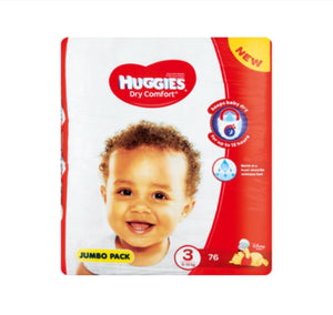 Huggies Dry Comfort Jumbo Pack No.3 Diapers - 76 Pack