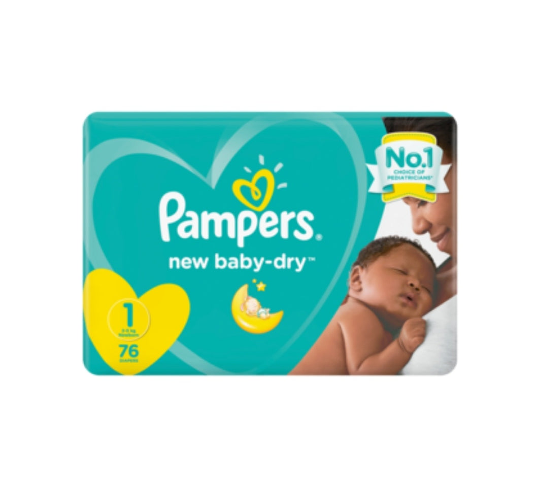 Pampers New Baby Dry Size 1 Nappies - 76 Pack