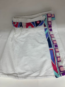 white geometric towel wrap