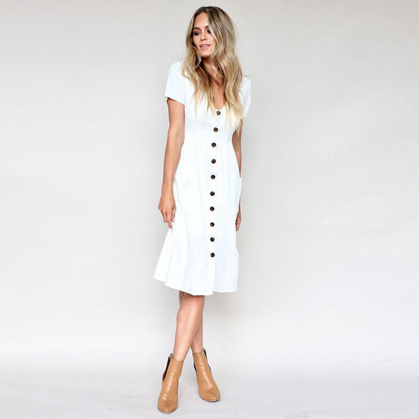 a1d2d0e9481 Button Down Short Sleeve Swing Dress with Pockets