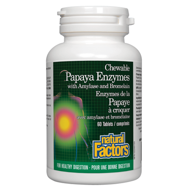 NATURAL FACTORS Papaya Enzymes ( 60 Chews )