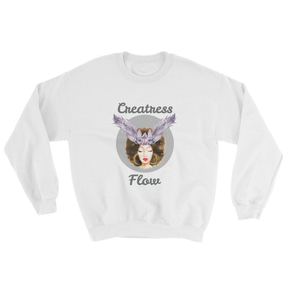 Womans White Meditation Sweatshirt - Flow Vibe Wear