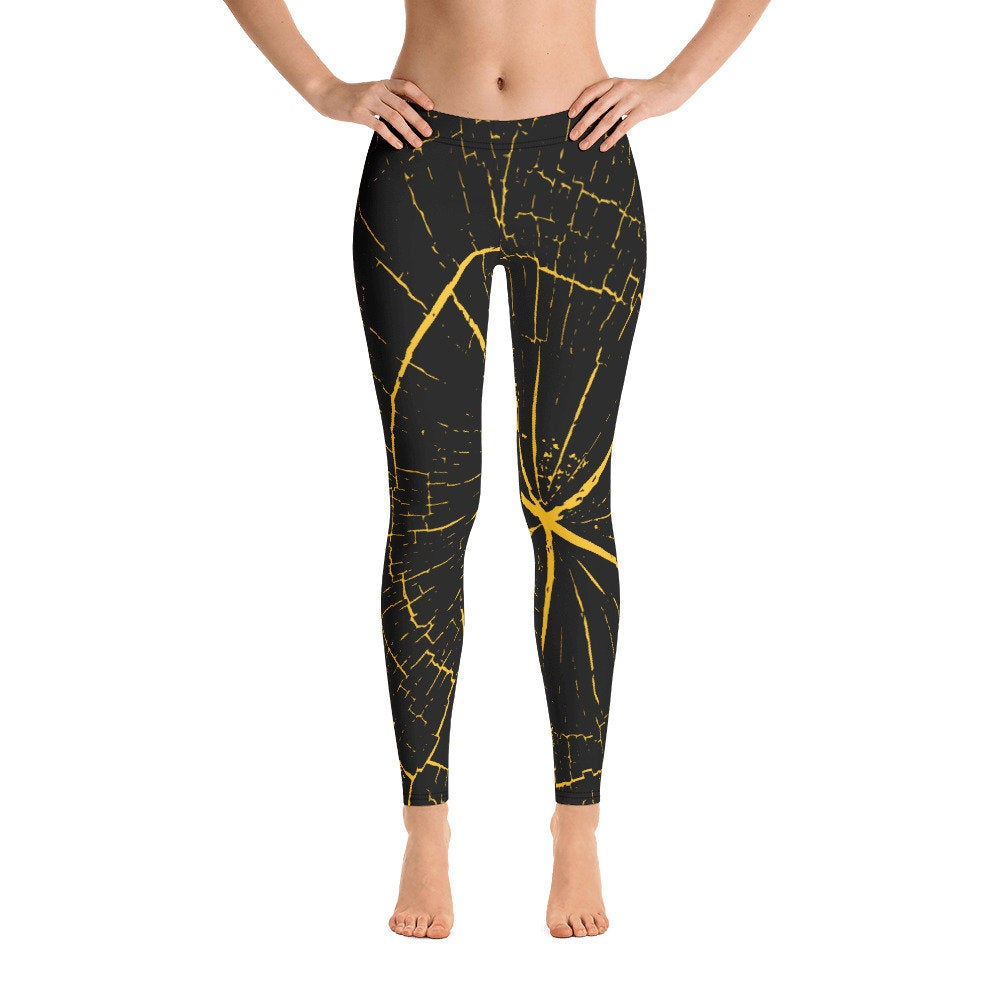 Black and Yellow Wood Design Leggings - Flow Vibe Wear