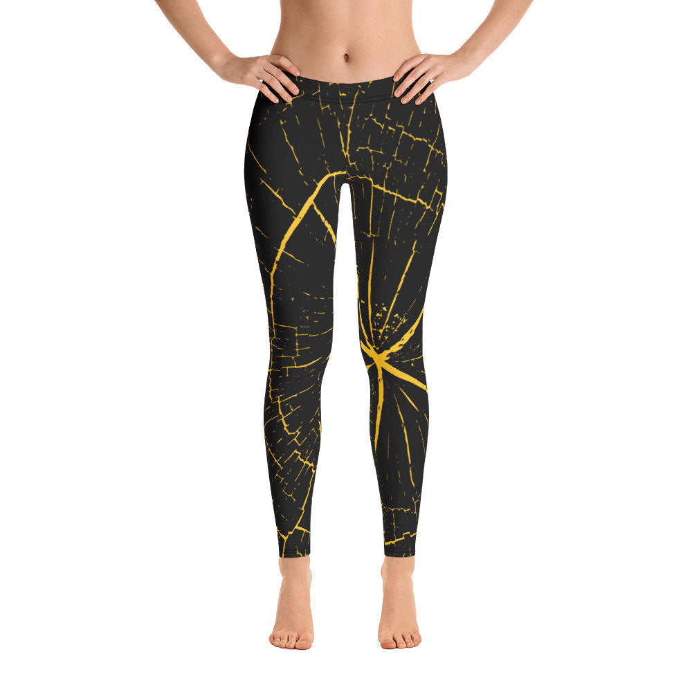 Black and Yellow Wood Leggings - Flow Vibe Wear