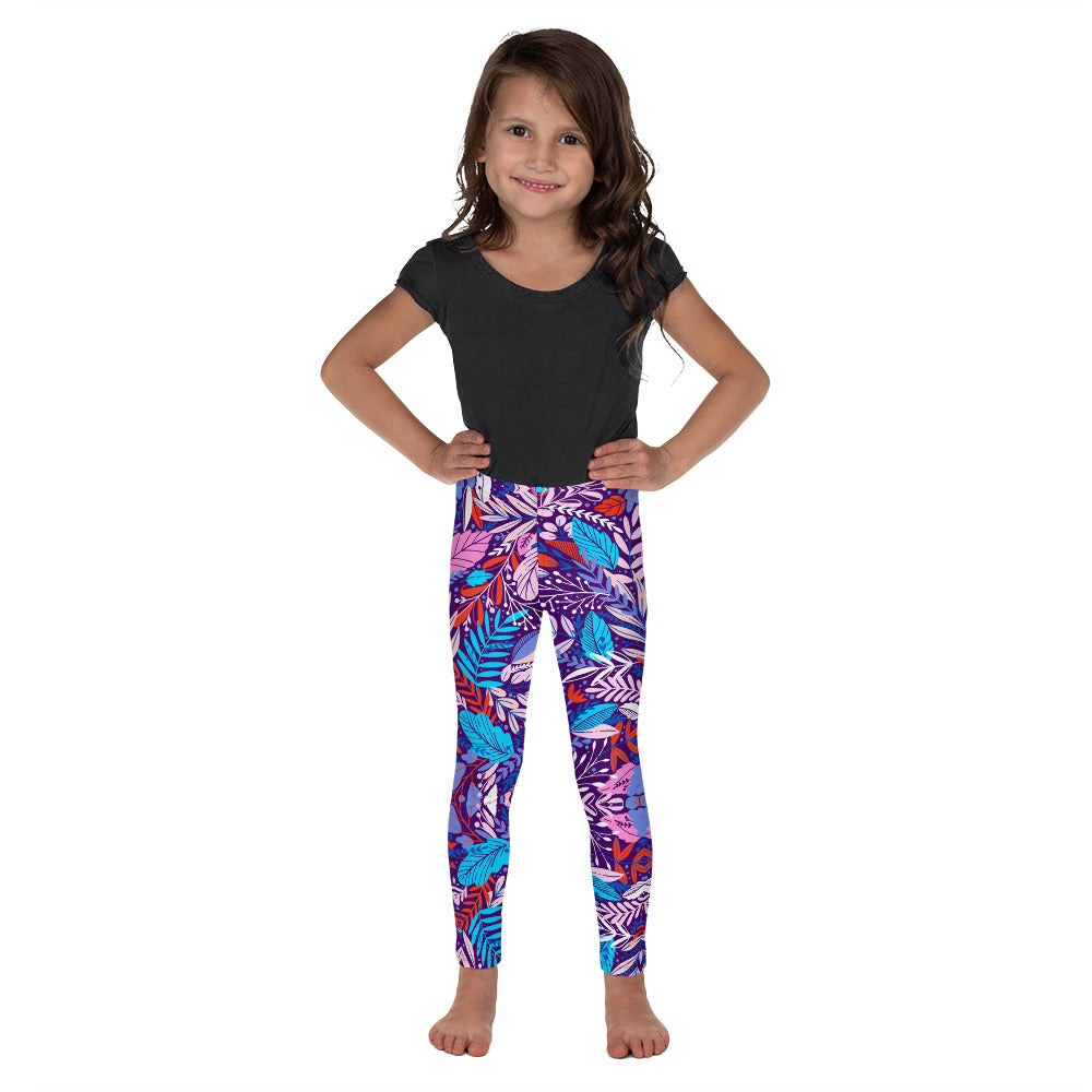 Kids Deep Tropical Flowers Leggings