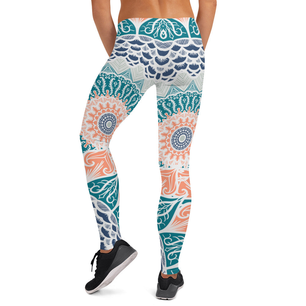 Aztec Coral & Teal Yoga Fitness Leggings - Flow Vibe Wear