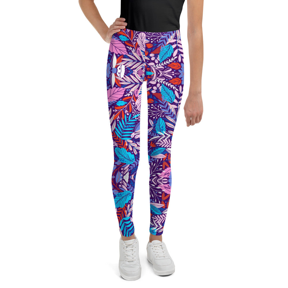 Kids Deep Tropical Flower Leggings