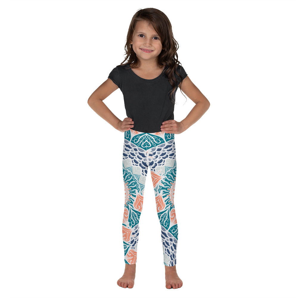Toddler Aztec Coral & Teal Leggings - Flow Vibe Wear