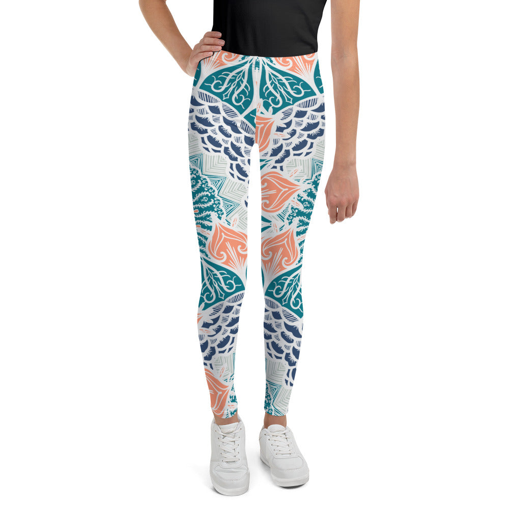 Preteen Aztec Coral & Teal Leggings - Flow Vibe Wear