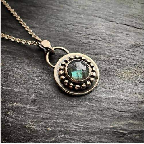 Beaded and Faceted Labradorite Pendant - The Whole 9 Gallery