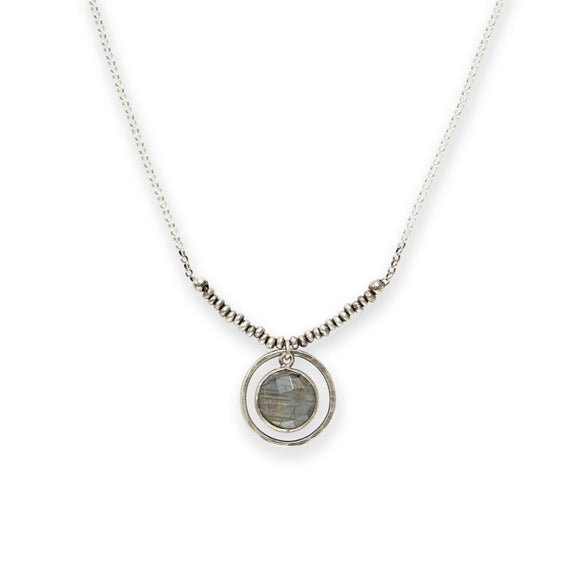 Faceted Labradorite Necklace with Sterling Circle