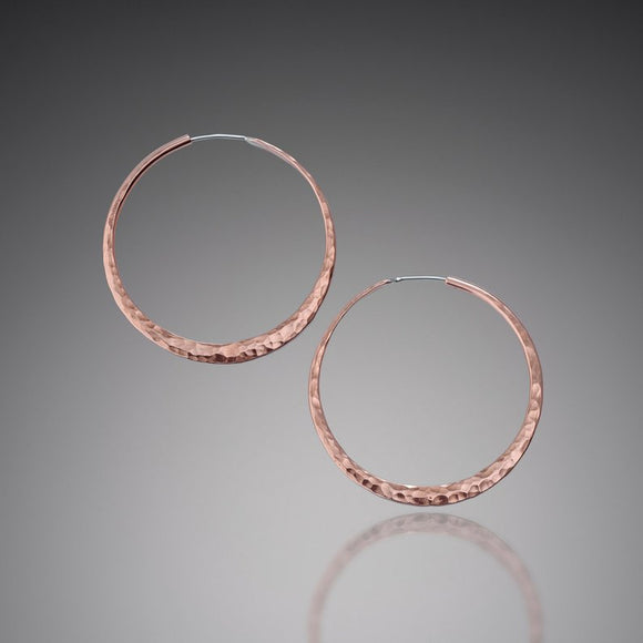Hammered Copper Hoops, Large