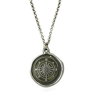 Compass Rose, Wax Seal Necklace