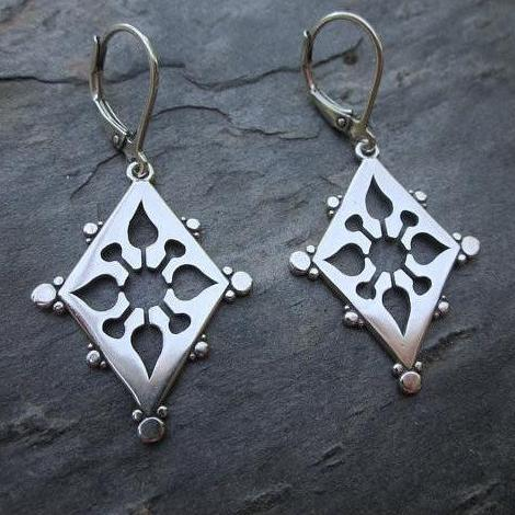 Ornate Cut Out Earrings, Sterling Silver