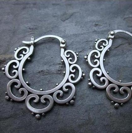 Ornate Tribal Hoop Earrings, Sterling Silver