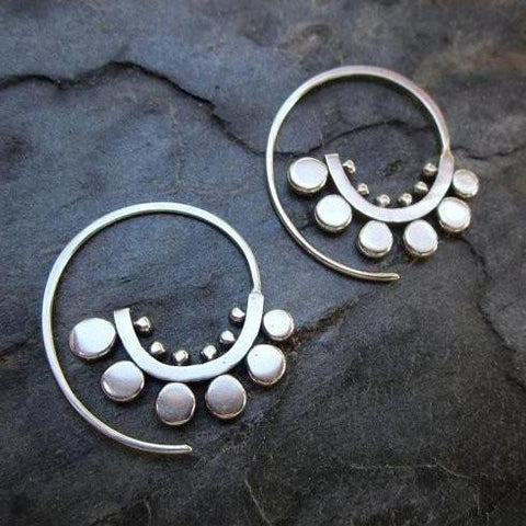 Sunflower Spiral Hoops, Silver