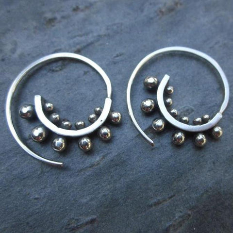 Mini Ultra Spiral Earrings, Silver