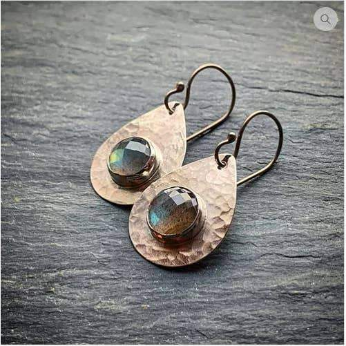 Faceted Labradorite Teardrop Earrings - The Whole 9 Gallery