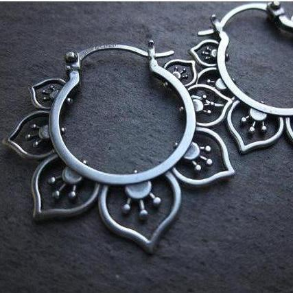 Ornate Flower Hoop Earrings, Sterling Silver